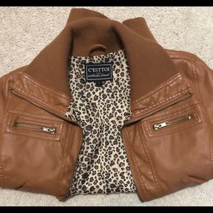 Large leather brown  jacket